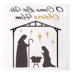 Darice Christmas Manger Decal: Black/Gold, 6 x 6 inches
