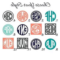 Circle Monogram Decal in Your Choice of 12 Styles