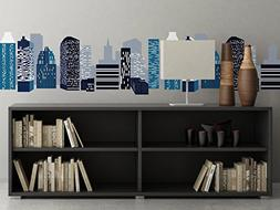 City Skyline Wall Border Fabric Wall Decal, Set of Two 25 In