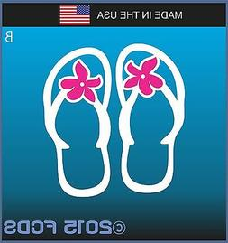 Classic Beach Flip Flop with Pink Flower Decal Sticker for C