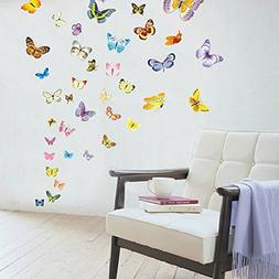 Amaonm® 50 Pcs Colorful Butterfly Wall Decal for Kids Room