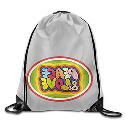 Colorful Peace And Love Logo Student Canvas Bag