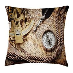 Ambesonne Compass Decor Throw Pillow Cushion Cover, Vintage