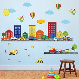 decalmile Construction Kids Wall Stickers Cars Transportatio