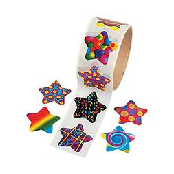 Cool Fun 27729 Funky Star Roll Stickers - 100 Piece