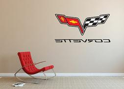 Corvette Logo Wall Decal Sport Car Luxury Race Vinyl Home De