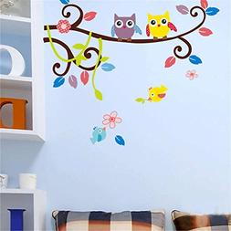 BIBITIME Couple Bedroom Tree Owl Branch Wall Decal Lovers Fl