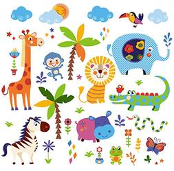 Crazy Jungle Animals Baby/Nursery Wall Sticker Decals for Bo