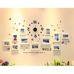 Creative Wall Decor Collage Photo Frame Set with Clock, Wall