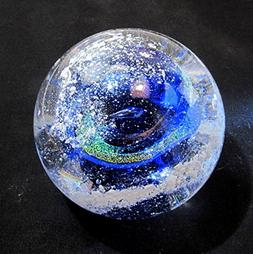 Cremation Ash PET Memorial Glass BLUE Nebula Swirl Paperweig