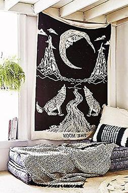 raajsee Crying Wolf and Moon Tapestry Wall Hanging, Indian C