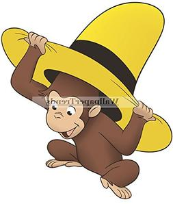 """9"""" Curious George Yellow Hat Monkey Animal Removable Peel Se"""