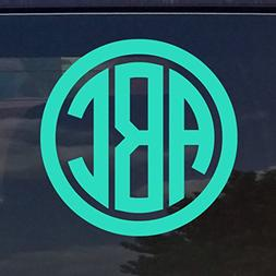 Custom Circle Monogram Initials Vinyl Decal/Sticker Cars YET