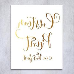 Custom Gold Foil Print Decor Any Quote Your Words Personaliz