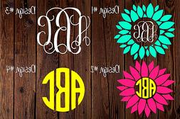 Custom Monogram Vinyl Decal Sticker- For Car, Yeti Cups, Gif