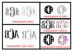 Custom vinyl monogram decal, car decal, tumbler decal, perso