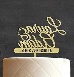 Custom Wedding Wood Engraved Cake Topper Persoanlized Names