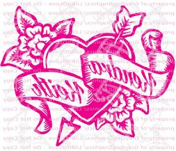 Custom Yeti Sized Tattoo Hearts Decal With Names Vinyl Decal