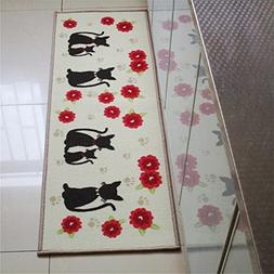 USIX 40x120cm Cute Cats Kitty with Red Flowers Washable Nylo