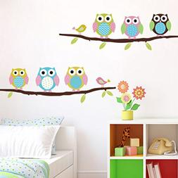 Soledi New Cute DIY Removable Colorful Six Owls Bird Branch