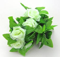 RayLineDo CYAN Color 1 Pieces Fake Silk Rose Flower Ivy Vine