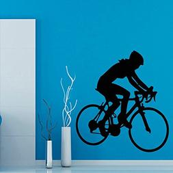 Cyclist Wall Decals Bicycle Rider Girl Room Sport Gym Wall D