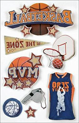 Paper House 494361 Sport 3-D Stickers-Basketball