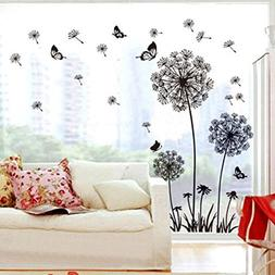 3cworld Dandelion and Butterflies Self-adhesive Wall Decals