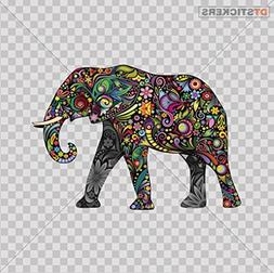 Decal Stickers Colorful Elephant car window Wall Art Decor D