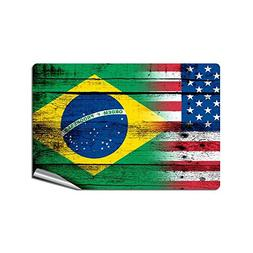 "4"" x 6"" Decal / Sticker with Flag of Brazil - Wood w USA Fla"