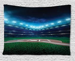 Ambesonne Sports Decor Tapestry, Professional Baseball Field