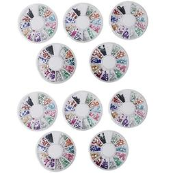 10 x Different Styles of Bright Colourful Flat Back Nail Art
