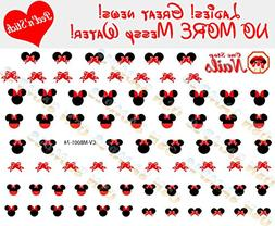 Disney Minnie Mouse Bow Nail Art Decals. Clear Vinyl PEEL an