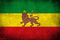 American Vinyl Distressed Ethiopia Lion Flag Sticker