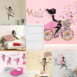 DIY Lovely Girl Art Wall Stickers For Kids Rooms PVC Wall De