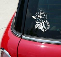 DOUBLE ROSE ROSES FLOWER FLOWERS GRAPHIC DECAL STICKER CAR V