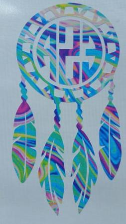 Dream Catcher 3.5 h with initials. Car decal. Tumbler decal,
