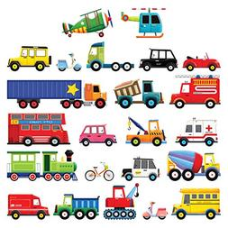 Decowall DS-8004 27 Transports Kids Wall Stickers Wall Decal