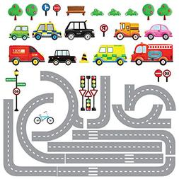 Decowall DW-1204 10 Transports and Roads Kids Wall Stickers
