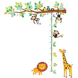 Decowall DW-1402 Little Monkeys Tree and Animals Height Char