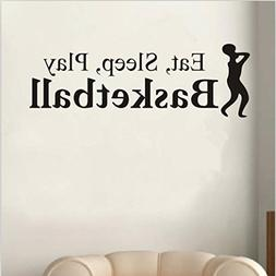 Hatop Eat Sleep Play Basketball Letter Decal Wall Sticker Ro