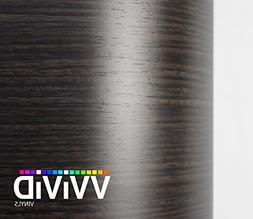 VVIVID Ebony Dark Wood Grain Faux Finish Textured Vinyl Wrap