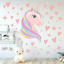 Fairy Unicorn Lovely Wall Stickers Hearts Dots  Girls Kids R