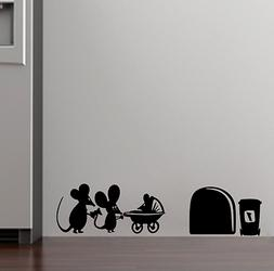 Family Baby Mouse Hole Wall Stickers For Kids Rooms Decals V