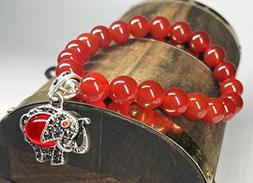 Feng Shui Handmade Red Agate Beads Bracelet with Lucky Eleph
