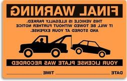 Parking Violation Stickers For Illegal Parking Final Warning