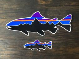 """0a353e95 Patagonia Fitz Roy Trout Fish Stickers 8"""" & Small"""