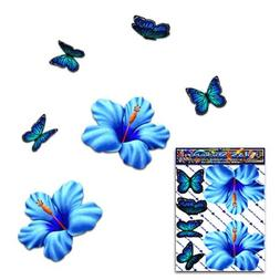 Flower Hibiscus Small Blue + Butterfly Animal Pack Car Stick