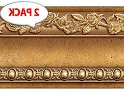 Flower Molding Peel and Stick Wall Border Easy to Apply Gold