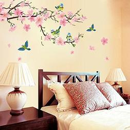 Dingoo Flower Peach Blossom Tree Branch Instant Wall Decal S